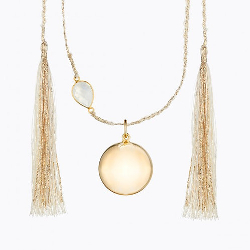 MAYA MATERNITY NECKLACE YELLOW GOLD PLATED WITH MOONSTONE
