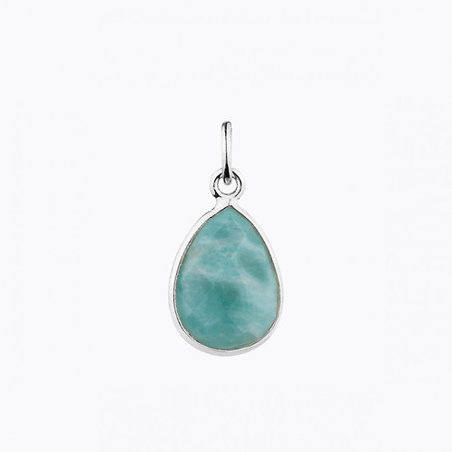GEMSTONE DROP PENDANTS - AMAZONITE SILVER
