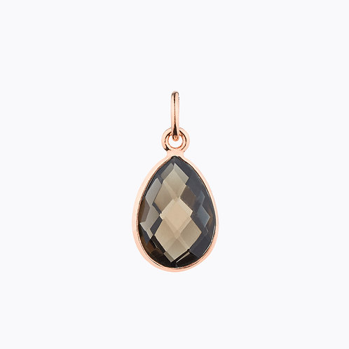 GEMSTONE DROP PENDANTS - SMOKY QUARTZ ROSE GOLD