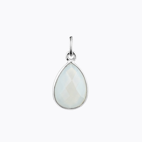 GEMSTONE DROP PENDANTS - MOONSTONE SILVER