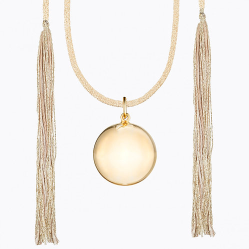 ACAPULCO MATERNITY NECKLACE YELLOW GOLD CAMEL CORD