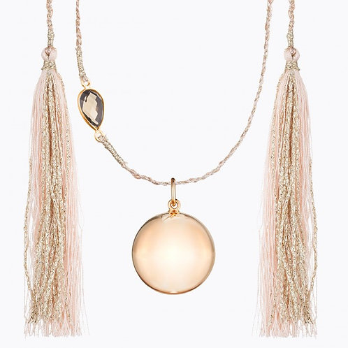 MAYA MATERNITY NECKLACE ROSE GOLD PLATED WITH SMOKED QUARTZ