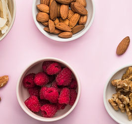 Images of fruits and nuts to represent allergies