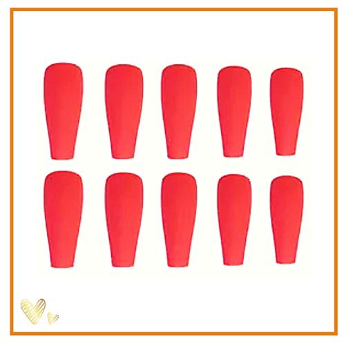 Fire red (Matt) 24 set nails- Nail tabs included