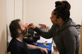 John Healy with make-up artist Nikki Smallwood