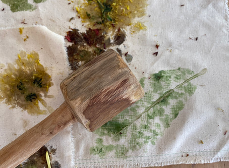 A love for plants? Make a leaf and flower pounding print with your children