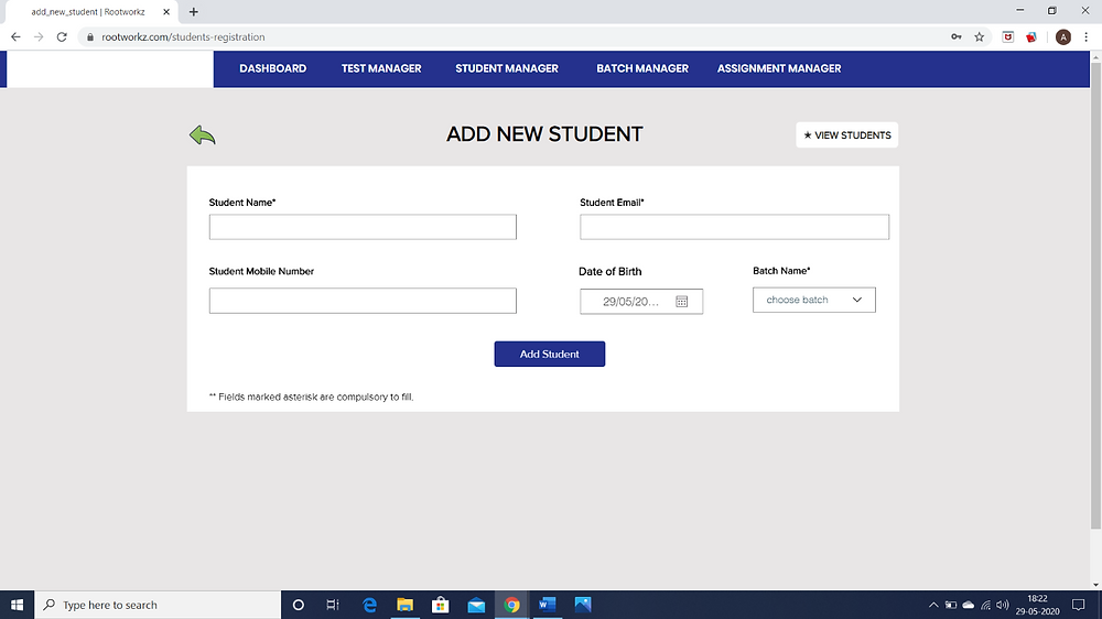 How to add your student in a batch on ROOTWORKZ LEARNING.