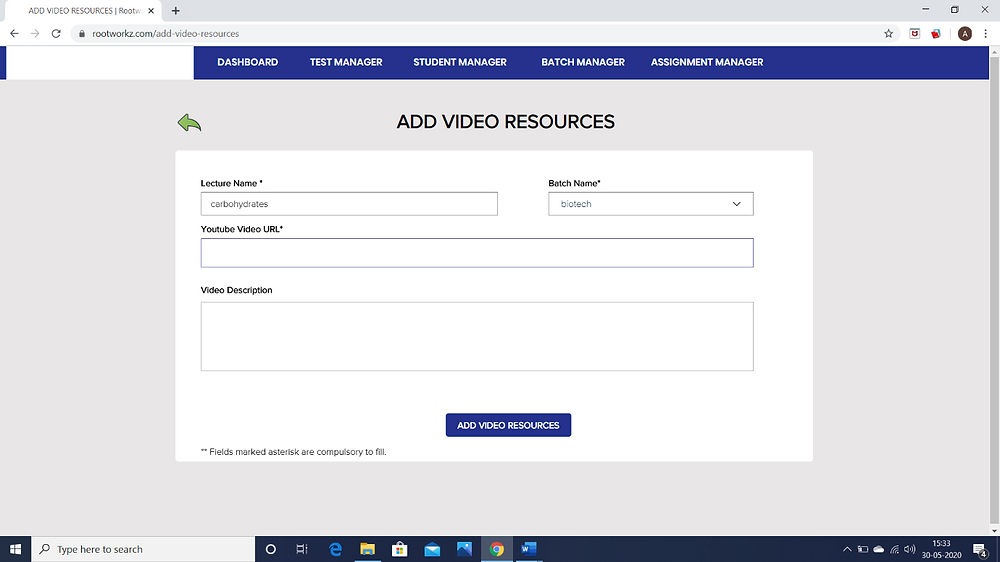How to integrate YouTube videos on ROOTWORKZ LEARNING ?