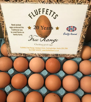 Tray of Medium Free Range Eggs from Fluffets Farm