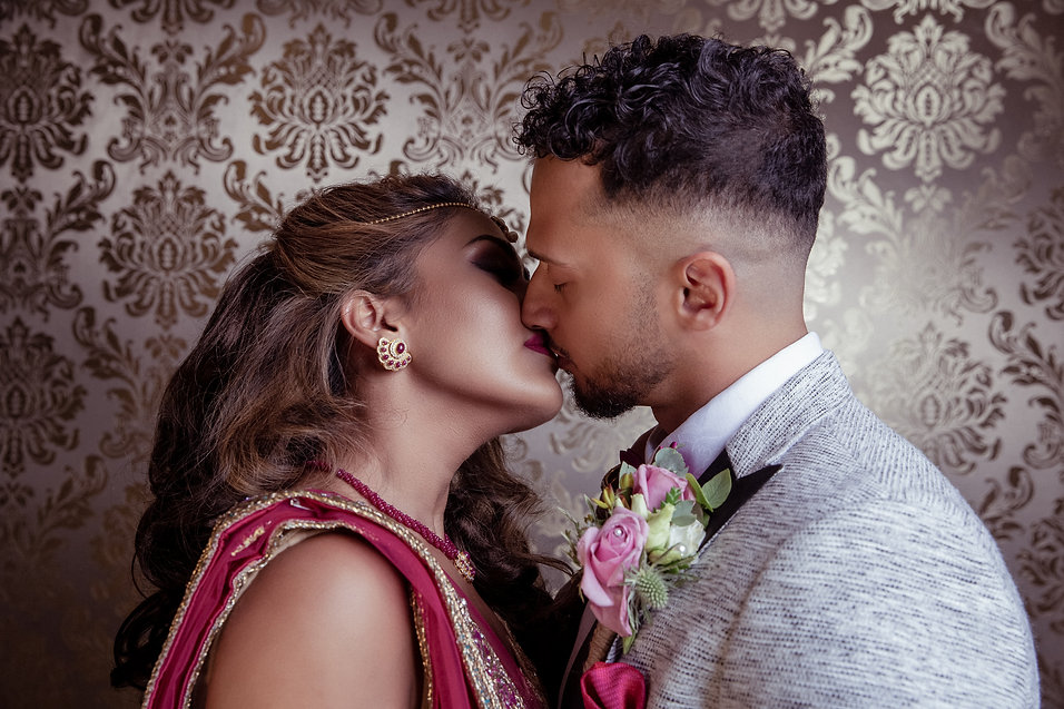 Bride and Groom Kissing at The Grand Sapphire Hotel by Editorial photographer Shane Anthony SinclairBeckenham Wedding Photographer London Wedding Photographer