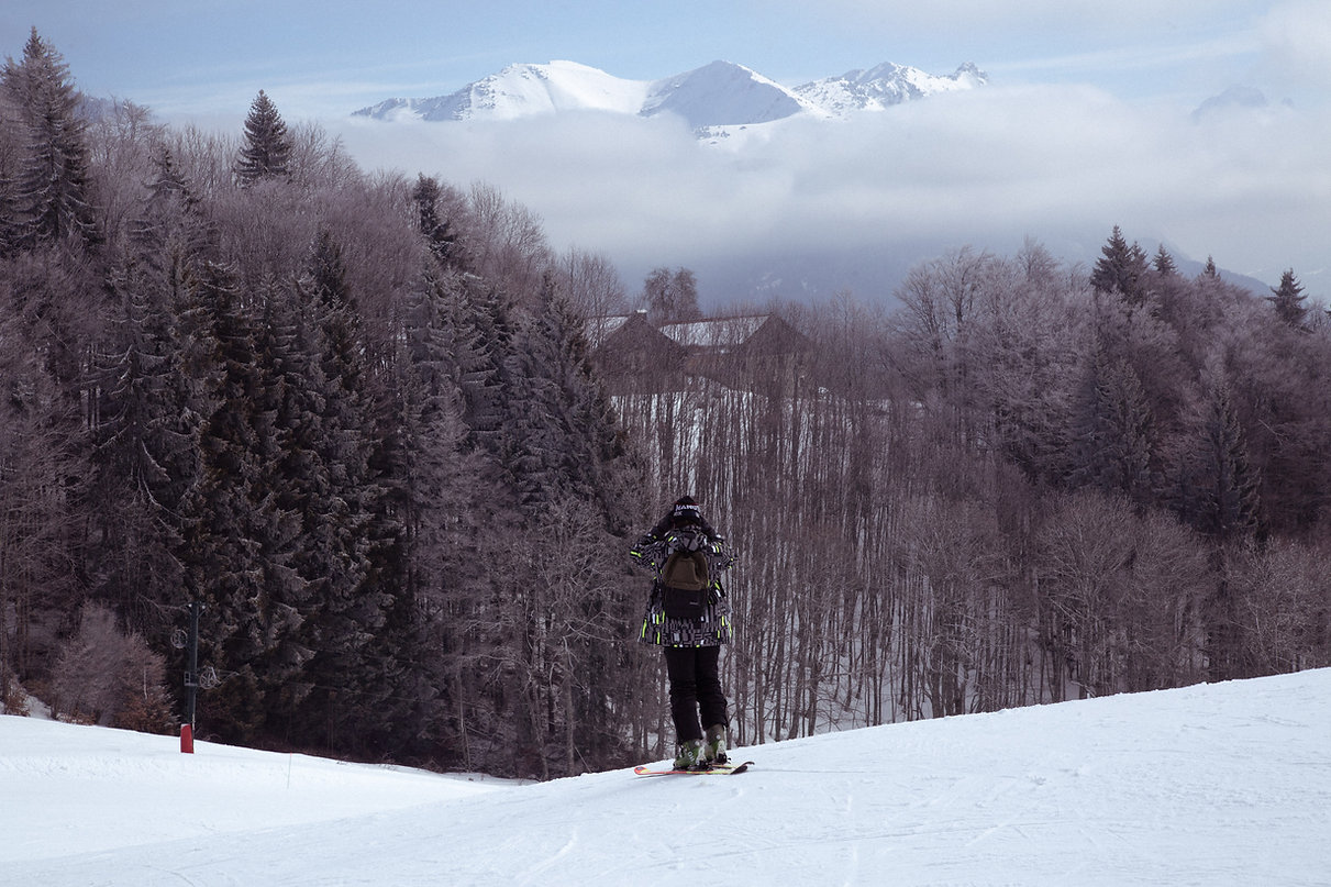 ShaneAnthonySinclair Standing at the top of a ski slope in france