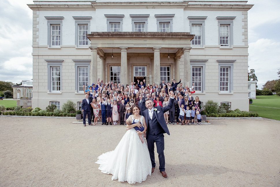 Bride and Groom group shot atBuxted Park Hotel wedding venue. Photography by Editorial Wedding Photographer Shane Anthony Sinclair Beckenham Wedding Photographer London Wedding Photographer