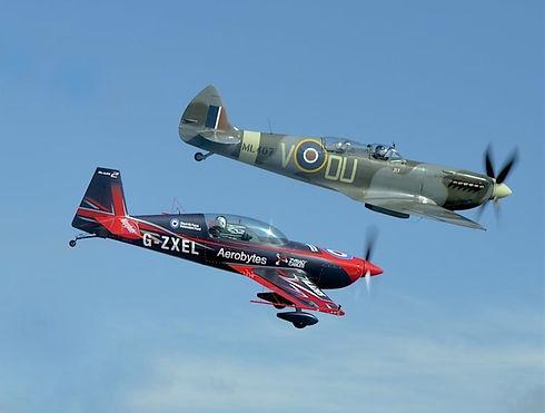 spitfire fly alongside