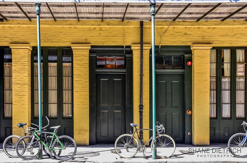 Bicycle No. 6 - Green Bike Yellow Building