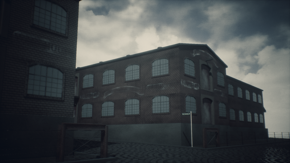 In-game shot with post process effects of the warehouse building.