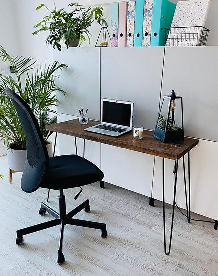 Rustic Straight Desk with Black Hairpin Legs - Dark Oak - 100cm to 150cm wide