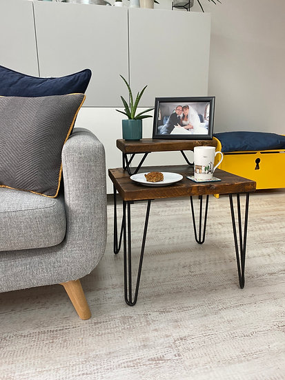 Dark Stain Coffee / Side Table - Rustic Wooden Living Room Table