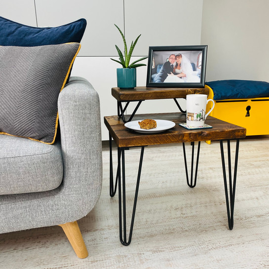 Dark Stain Coffee Table with Hairpin Leg