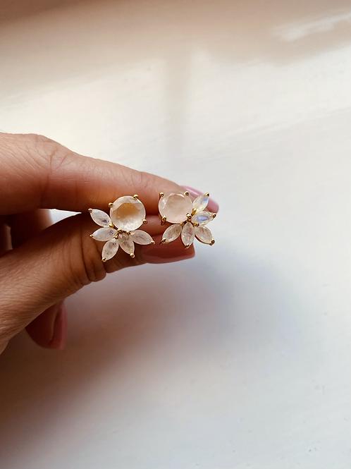 Floral Earrings - Rose Quartz