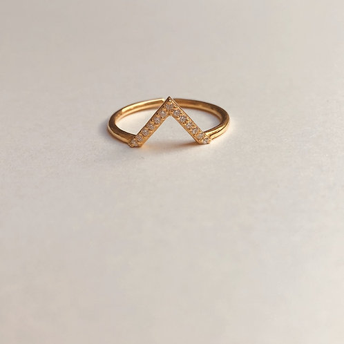 Crystal Wishbone Ring