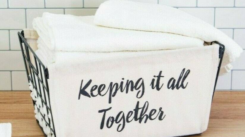 Linen & Grey Metal Storage Basket 'Keeping It All Together'