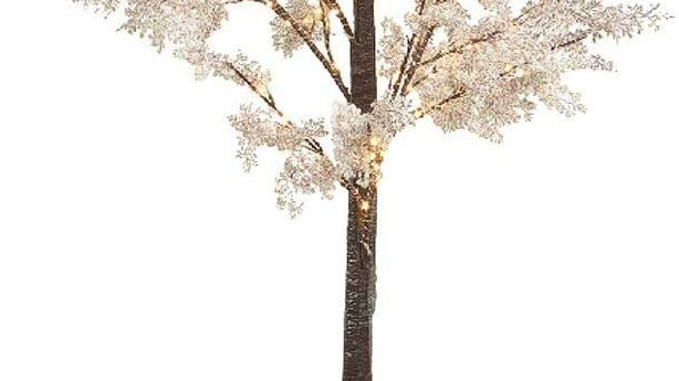 180cm White Flower Sparkle Pre Lit Twig Tree - Indoor Outdoor - 180 Micro Led's