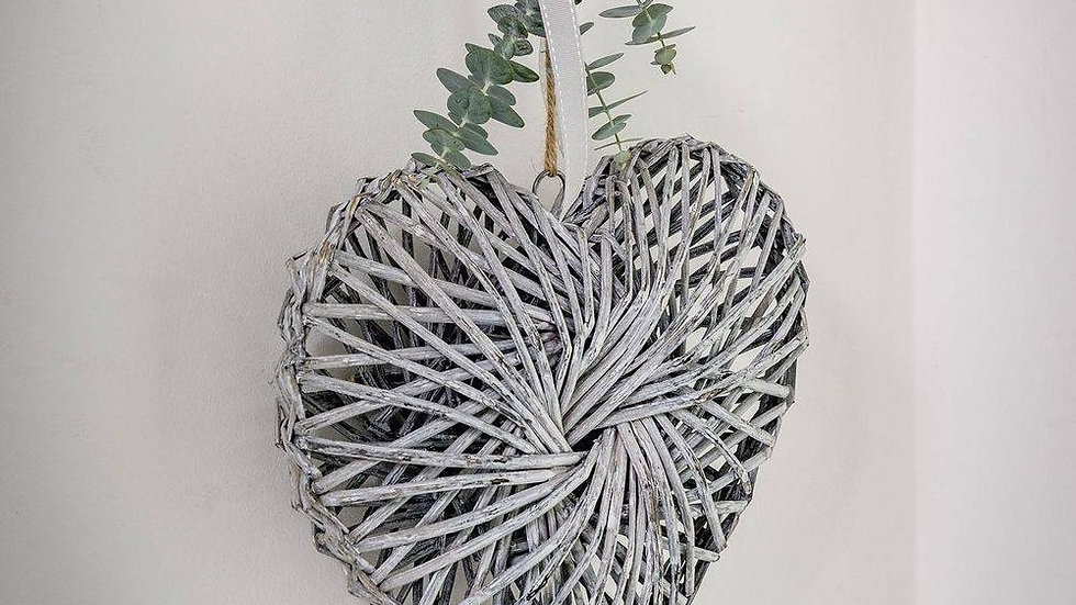 Grey Twisted Willow Heart - Small 20 x 20 x 5cm