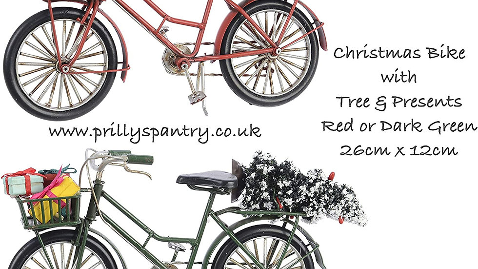 Retro Vintage Metal Bicycle - With Christmas Tree And Gifts - Red or Green