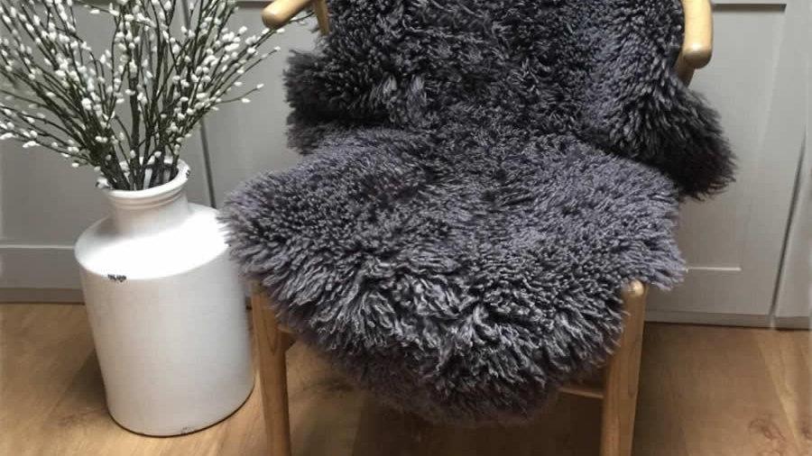 M/L Curly Coat Sheepskin Rug - Slate Grey - 90+cm