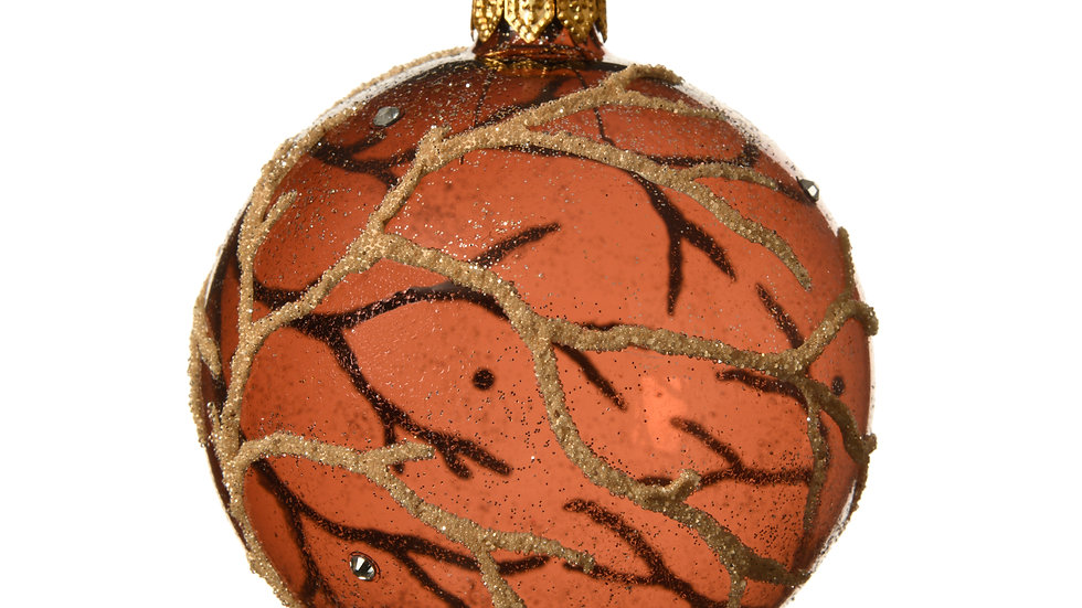 Amber Glass Tree Branch Design Baubles - Pack 6