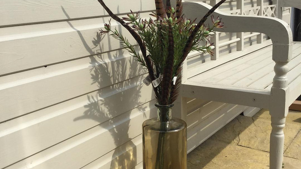 Tall Ombre Smoked Amber 100% Recycled Glass Bottle Vase