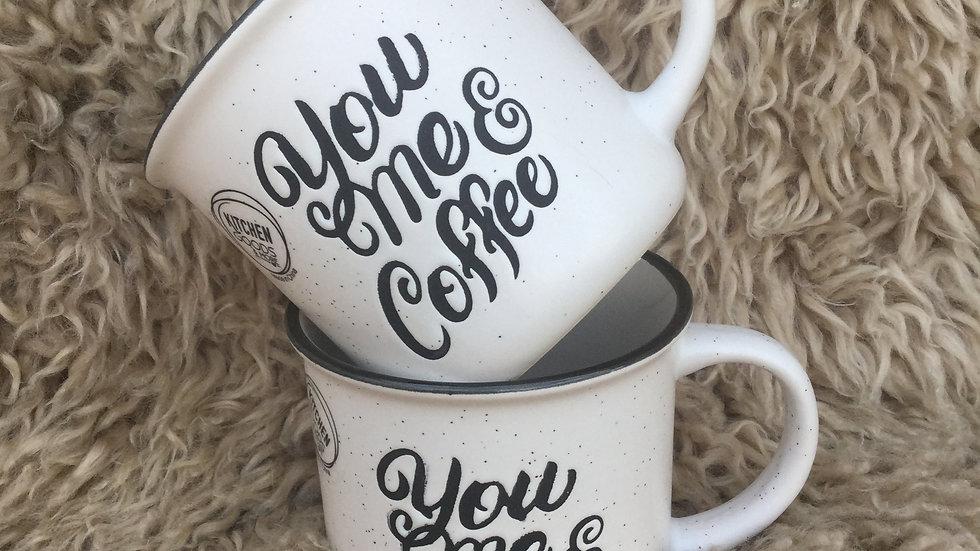 White Stoneware Coffee Mug 'You Me & Coffee'