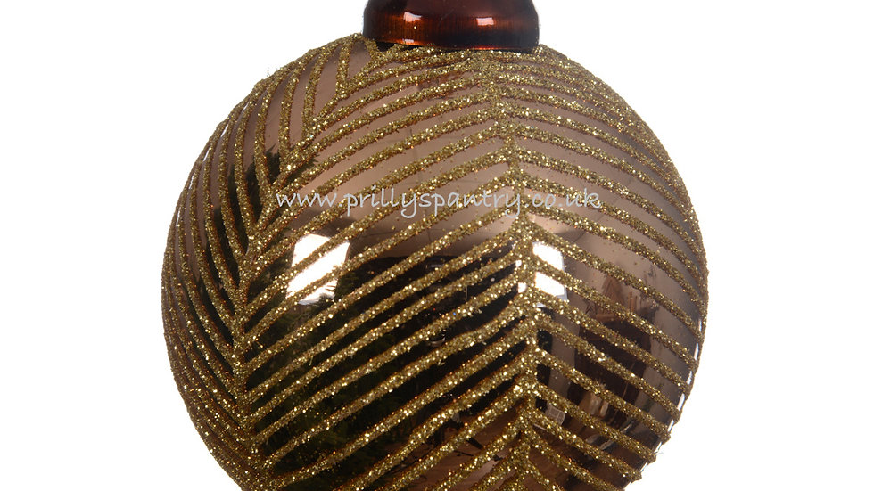 Browny Gold & Gold Glitter Stripes Christmas Tree Baubles x3