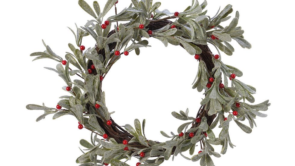 Frosted Mistletoe & Red Berry Christmas Door Wreath With Silver Glitter Finish