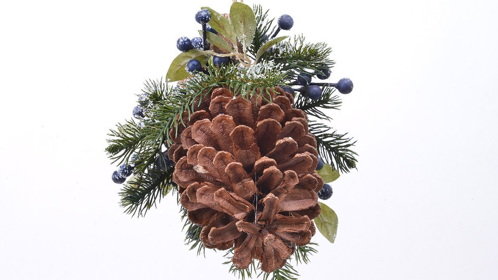 2 x Frosted Winter Sloe / Blueberry & Pine Cone Christmas Hanging Decorations