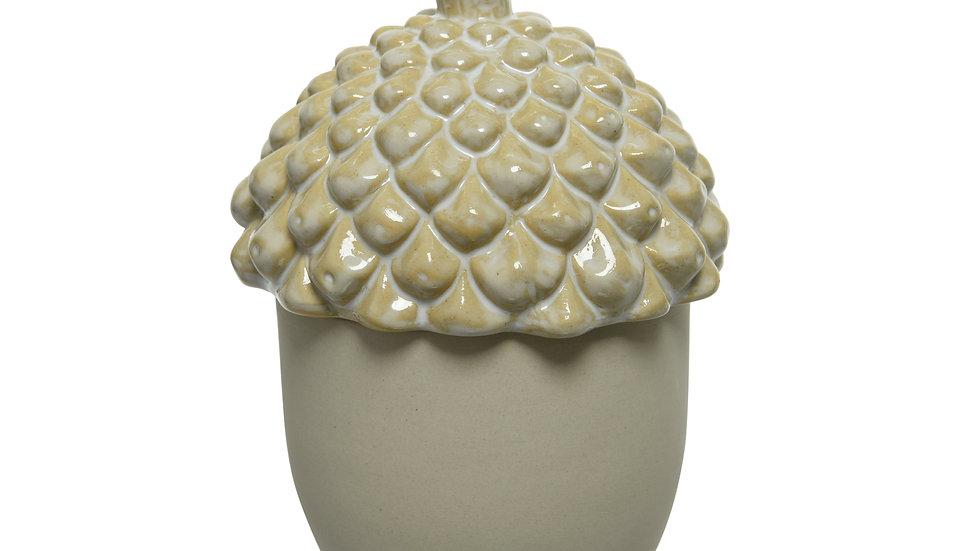 Ceramic Acorn Lidded Jar - Cream Ceramic - 10.5 x 14cm