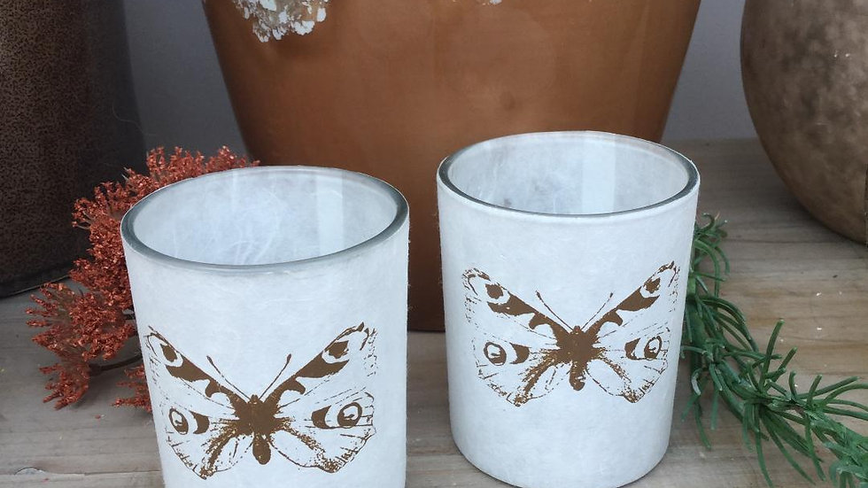 Pair of Botanical Butterfly Glass Votive Candle Holders