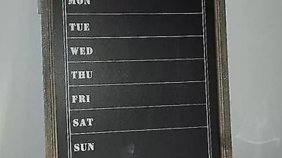 Wooden Framed Rustic Weekly Schedule Chalk Board