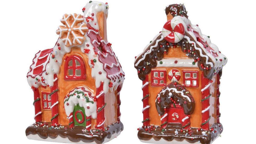 Christmas Gingerbread House Ceramic Tea light Candle Holder - Choose Design