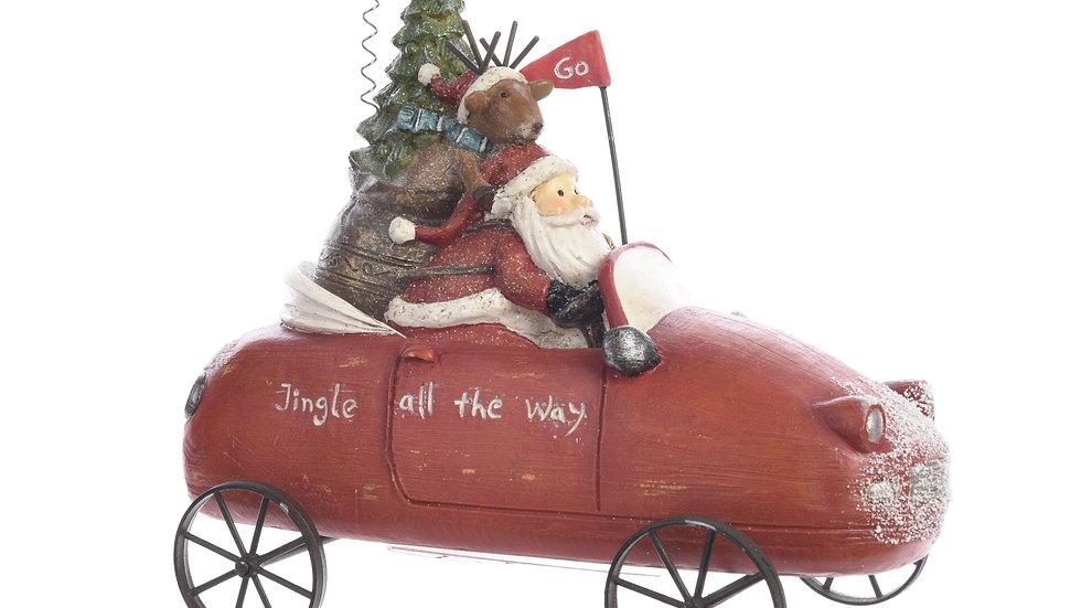 Santa In His Car Christmas Ornament
