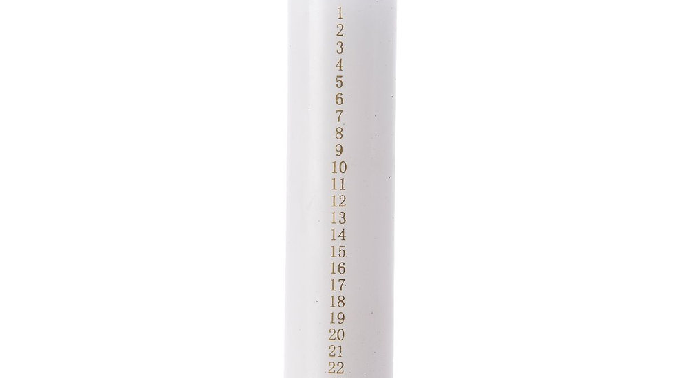 White Advent Candle, Numbers 1-24 - Contemporary Clean White 20cm Advent Candle
