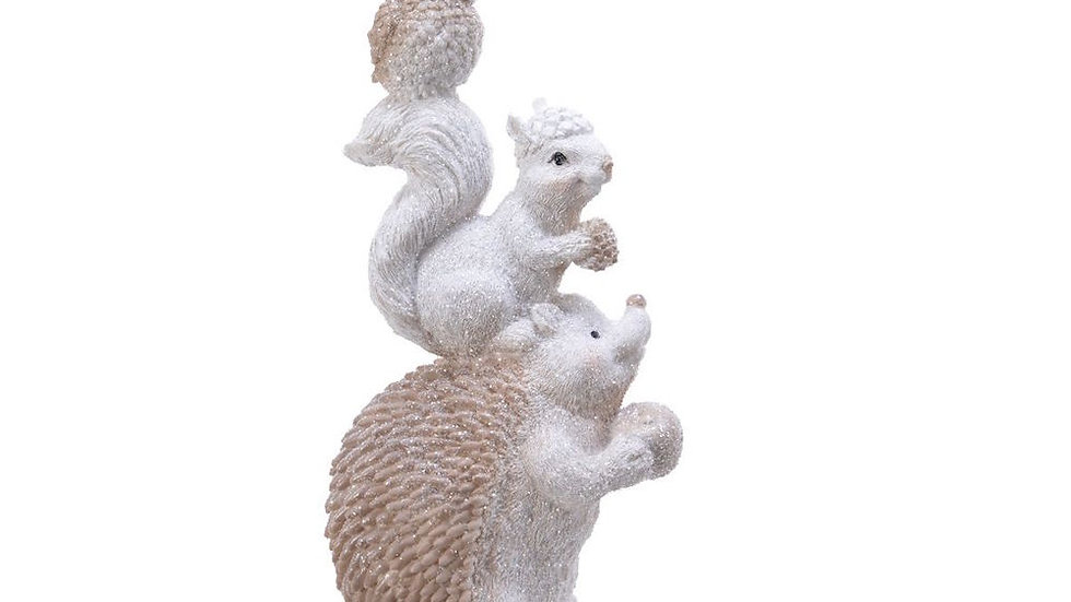 Woodland Winter Frosted Hedgehog, Squirrel and Owl Christmas Ornament 8 x 10 x