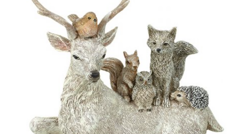 Frosted Forest Reindeer With Winter Woodland Animal Friends   16cm