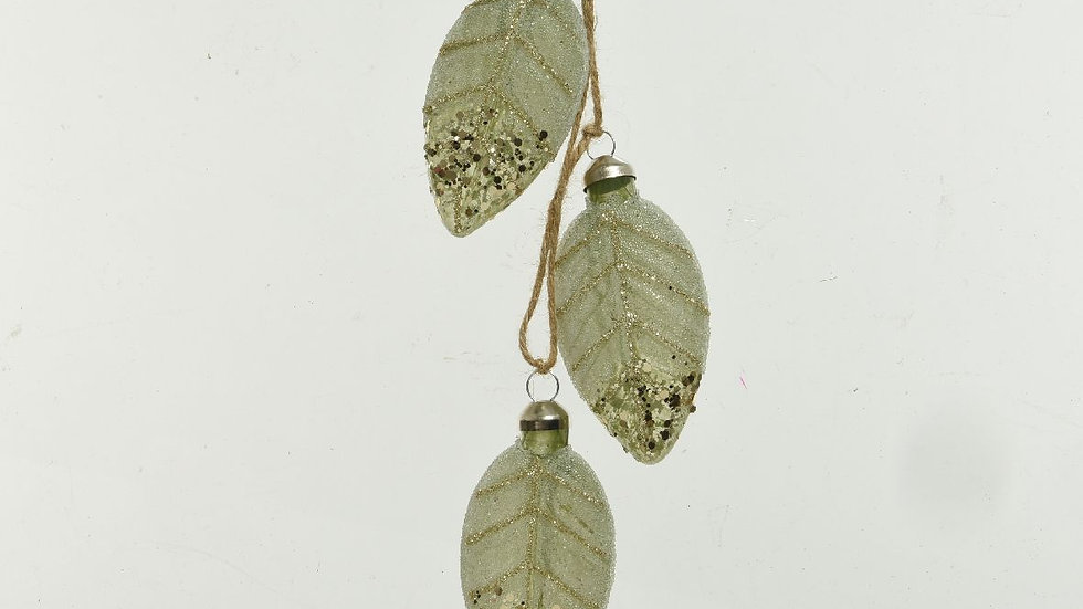 Green Glass Leaves - Set 3 - Hanging Tree Decorations - Autumn, Christmas, Fall