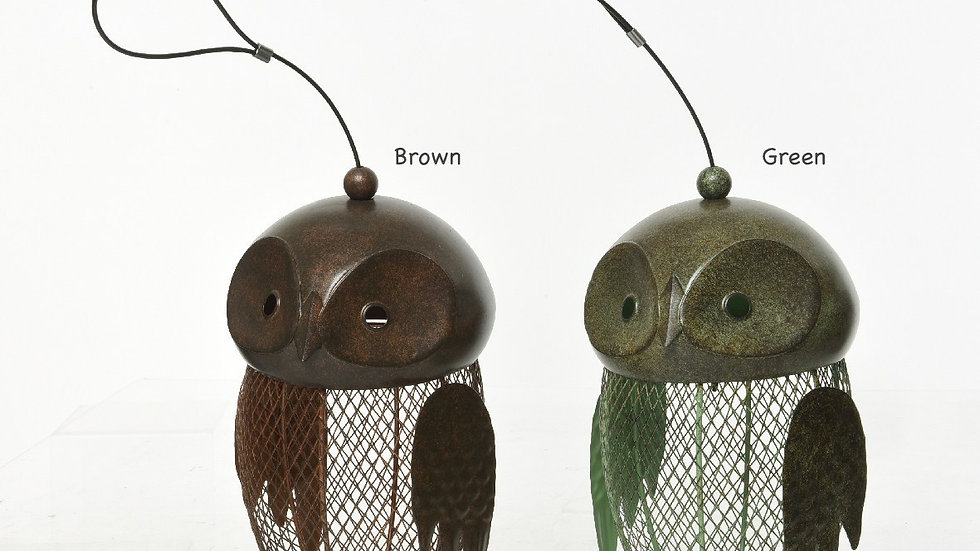 Metal Garden Bird Feeder - Owl Design - Antiqued Brown or Antiqued - 6 x 10cm