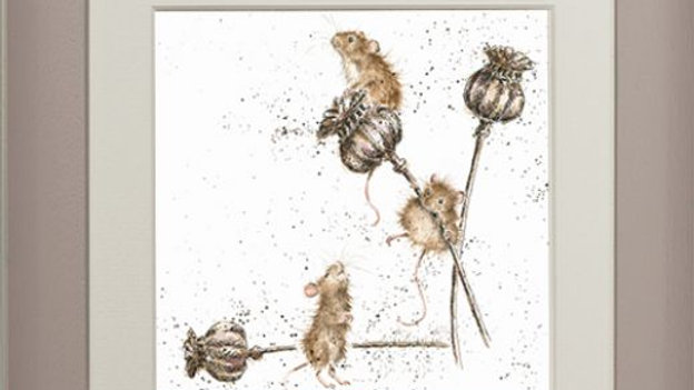 Wrendale 'Country Mice' Small Framed Card Picture (Taupe)