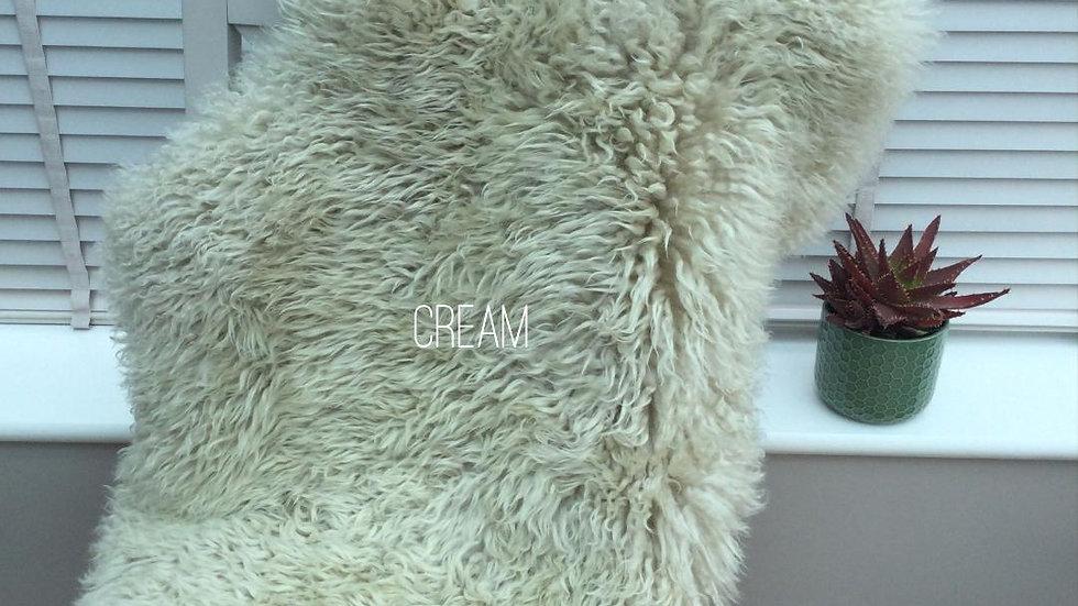 Curly Sheepskin - Single Pelt - Deep Pile Cream