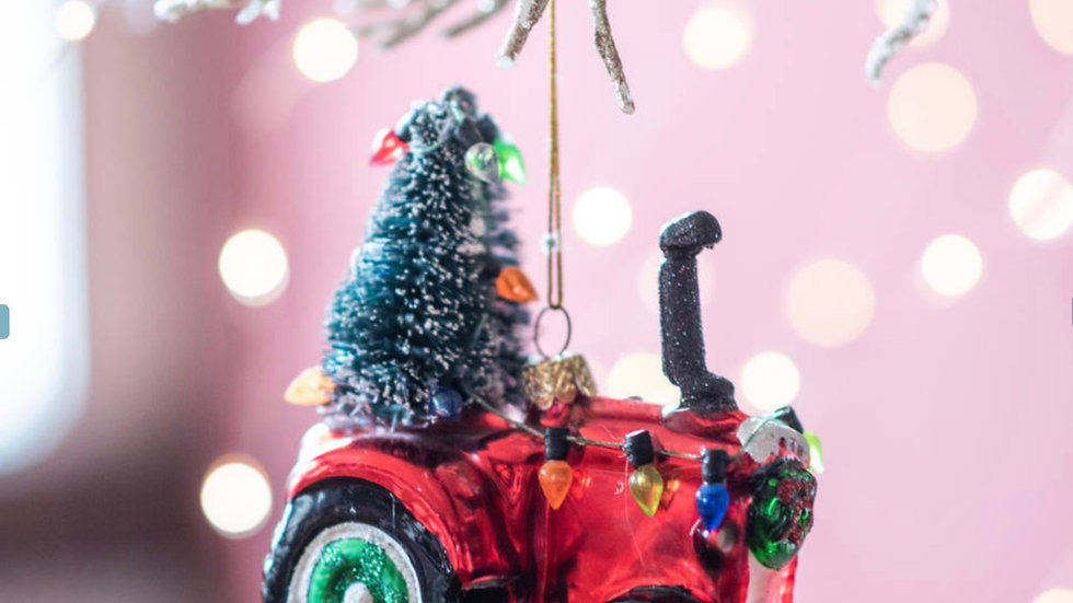 Festive Red Tractor Glass Bauble