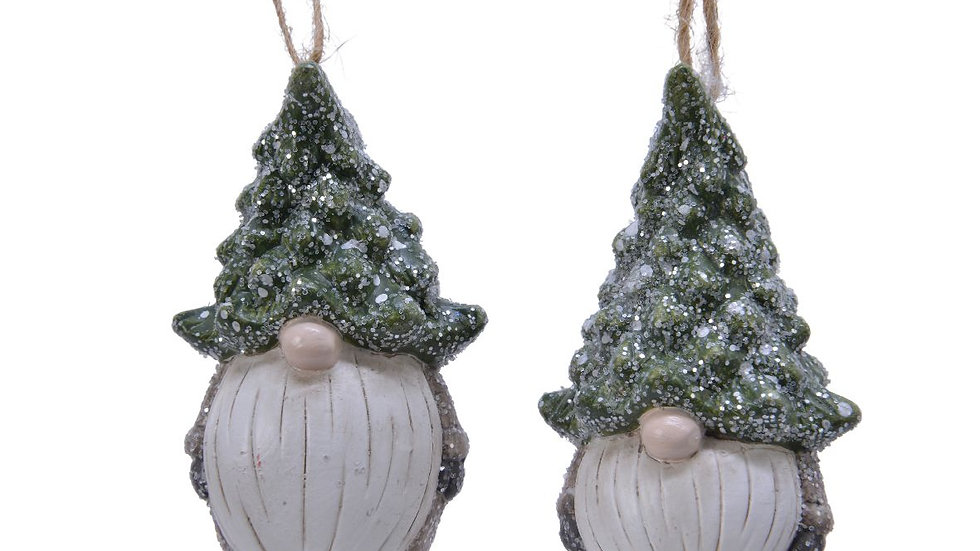 2 x Forest Gnome Hanging Decorations Wearing Christmas Tree Hats - 4.5 x 5 x 8.5
