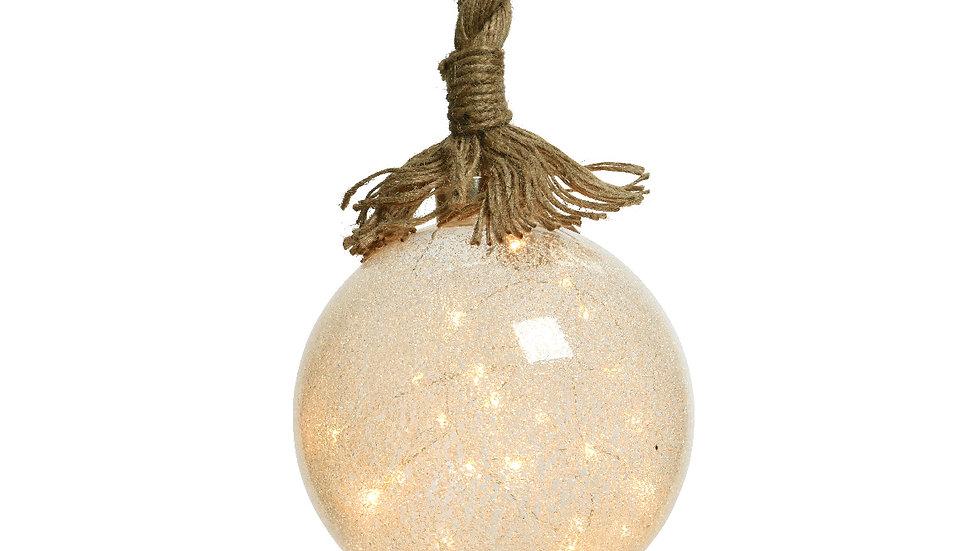 Micro Led Ice Hanging Ball On Jute Rope - Ice Finish Glass - Warm White Led's